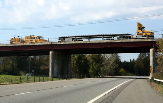 A truck passes over the Lime Kiln Road Bridge over I-84 looking westbound in East Fishkill Oct. 23, 2018.