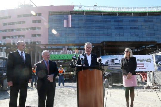 Senator Chuck Schumer speaks during a  press conference at the construction site of the new Vassar Brothers Medial Center in the City of Poughkeepsie on October 23, 2018. Joining Schumer, from left, Glenn Loomis, Health Quest's chief medical operations officer, Marist College president David Yellen and Dutchess County Comptroller Robin Lois.