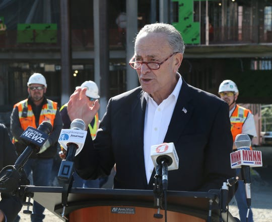 Senator Chuck Schumer speaks during a  press conference at the construction site of the new Vassar Brothers Medial Center in the City of Poughkeepsie on October 23, 2018. Schumer was in town to show his support for the forthcoming Marist Health Quest Medical School.
