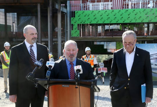 Marist College president David Yellen speaks during a  press conference at the construction site of the new Vassar Brothers Medial Center in the City of Poughkeepsie on October 23, 2018. Joining Yellen, from left, Glenn Loomis, Health Quest's chief medical operations officer, and Senator Chuck Schumer.