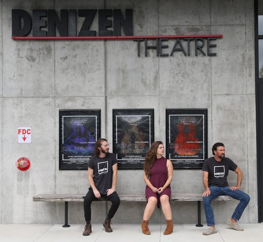 From left, co-artistic directors Ben Williamson and Brittany Proia with producing artistic director Harry Lipstein outside Denizen Theatre in New Paltz on October 10, 2018.