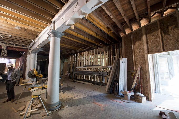 First floor commercial space with original columns that will be part of the new interior of Doll Building at 337 W. Market Street in York. The area was once the cafeteria for the City Hotel.
