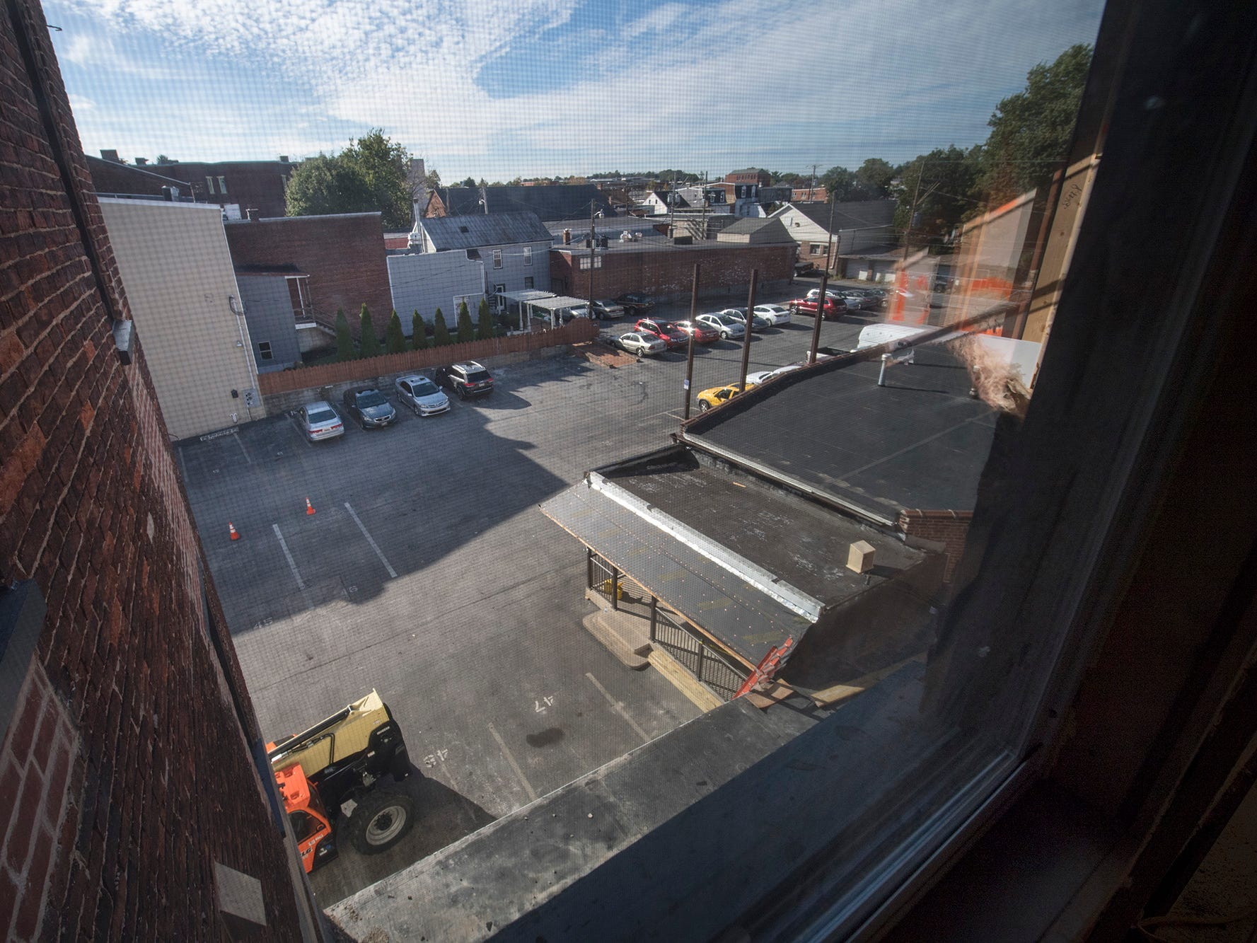 A view of the parking lot from an upper floor of the Doll Building at 337 W. Market Street in York.