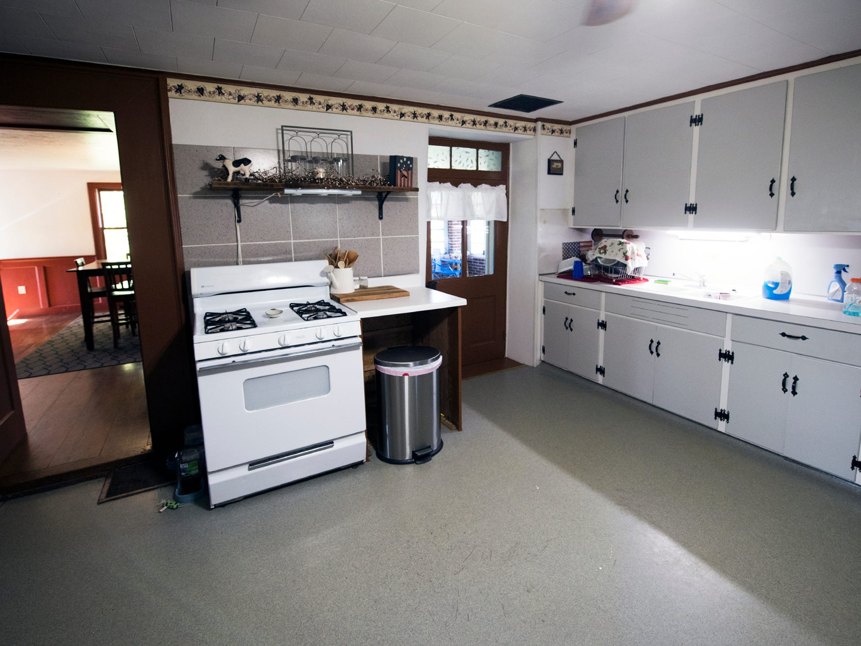 The simple kitchen in the main house of Gray Goose Manor in Springfield Township.