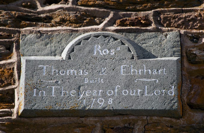 "The date stone on the peak of the main house at Gray Goose Manor in Springfield Township credits Rosina and Thomas Erhart, who ""built in the year of our Lord 1798."""