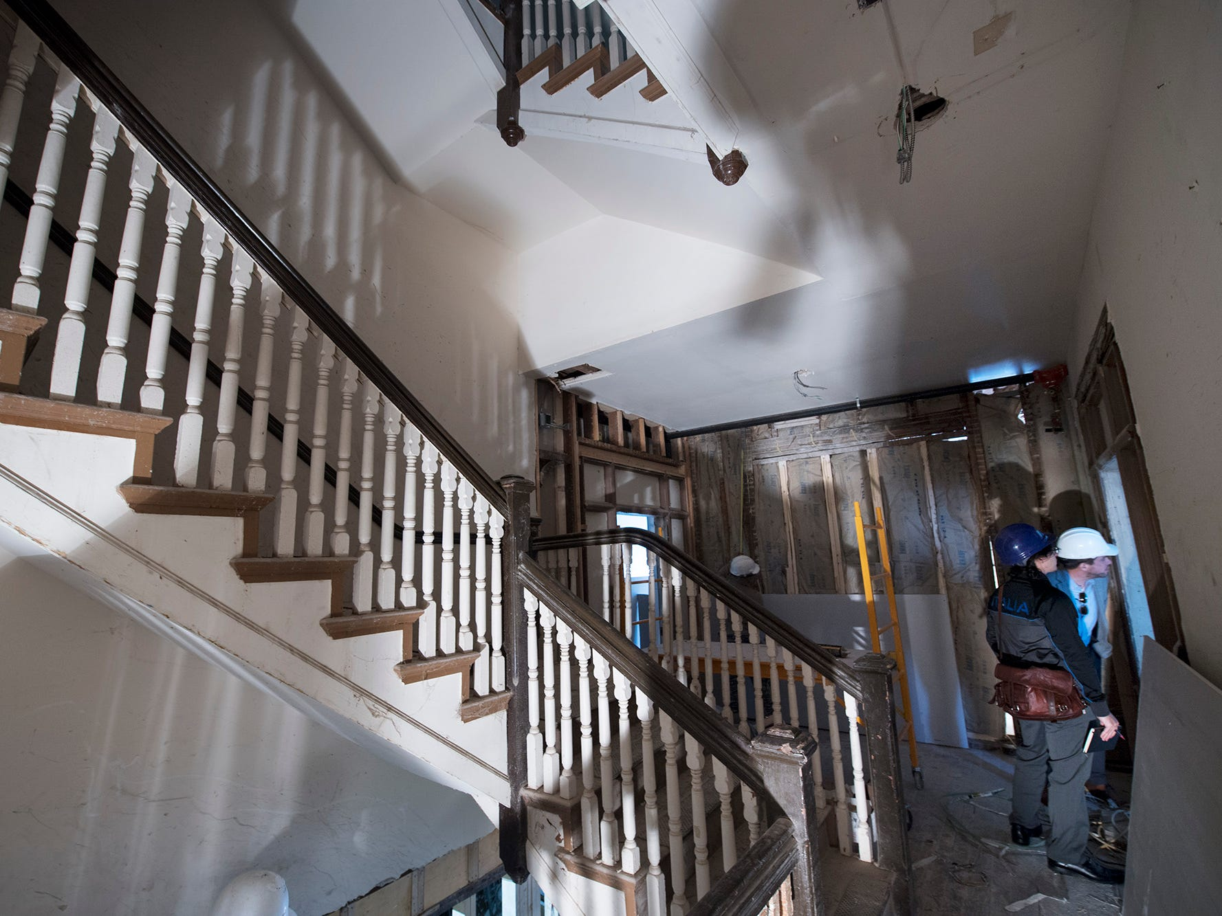 An open staircase winds through the floors of the Doll Building at 337 W. Market Street in York.