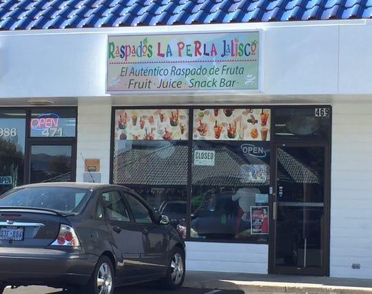 Raspados La Perla Jalisco serves Mexican snacks and fruit drinks from its East Plumb Lane shop.