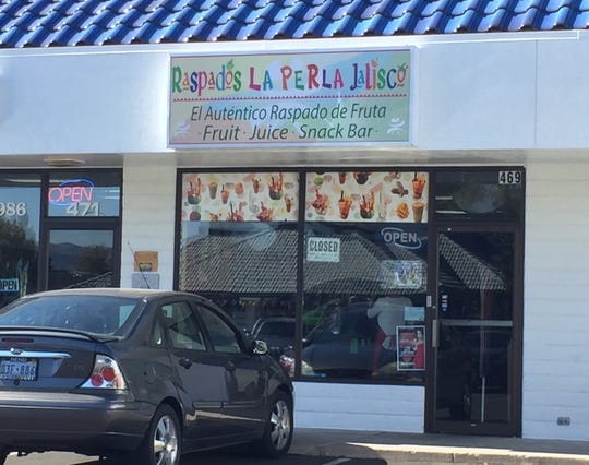 Raspados La Perla Jalisco serves Mexican snacks and fruit drinks from its East Plumb Lane shop.