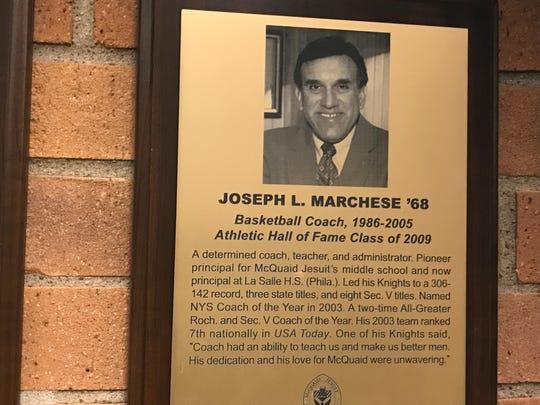 McQuaid hall of fame plaque, Joe Marchese