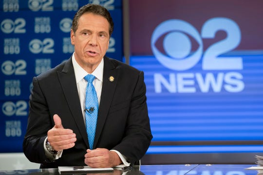 New York Gov. Andrew Cuomo speaks during the New York gubernatorial debate hosted by CBS 2 and WCBS Newsradio 880, Tuesday, Oct. 23, 2018, in New York. Cuomo debated Republican challenger Marc Molinaro with two weeks to go before the election.