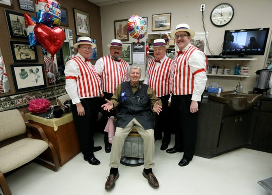 "Lou Benigni, ""Lou the Barber"" who turned 90 years old October 16, with the Notably Yours barbershop quartet."
