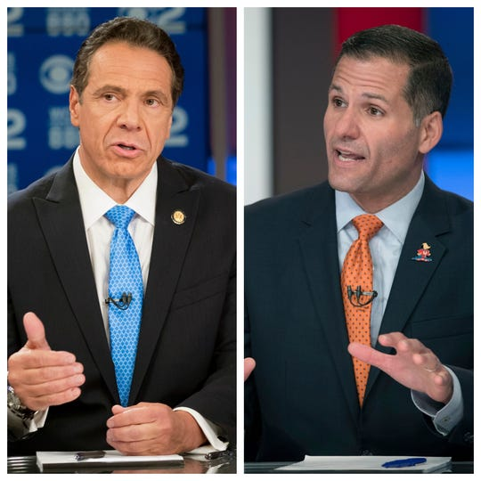 Gov. Andrew Cuomo and Marc Molinaro held their only one-on-one gubernatorial debate Tuesday, Oct. 23, 2018, at the CBS studios in Manhattan.
