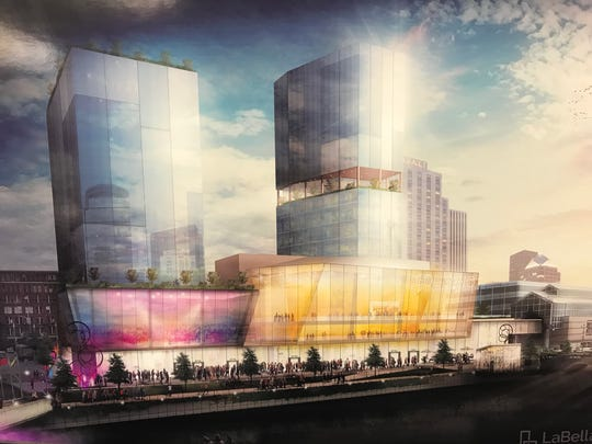 An architectural rendering of the Golisano Entertainment Complex proposed for the current site of the Rochester Riverside Hotel.