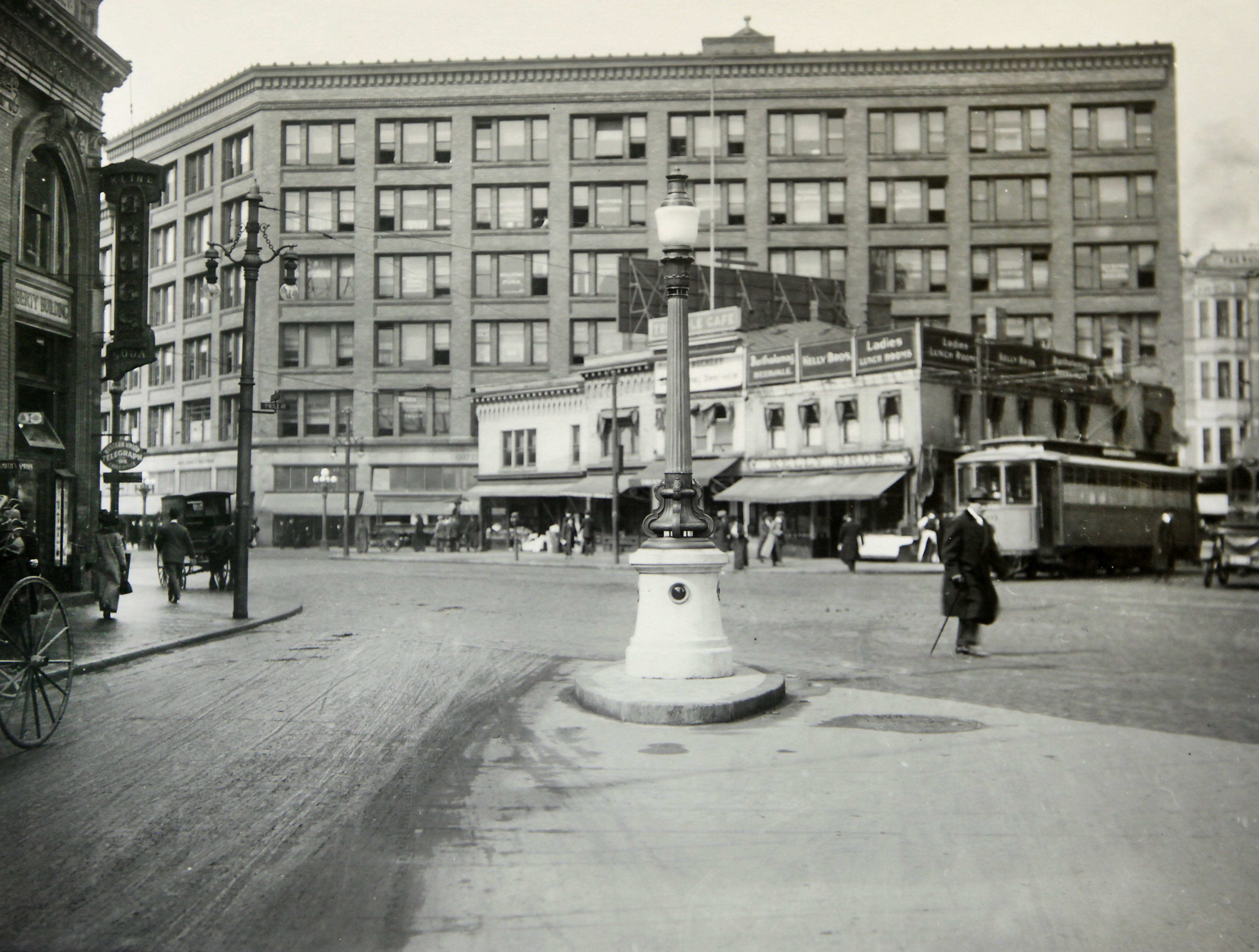 This 1913 photo shows the corner of East Avenue and Main Street, the  site of current Liberty Pole.