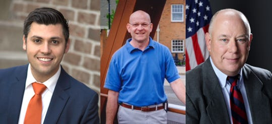 From left: Matthew Brown, Timothy Slisz and Kenneth Rohr are all running for two trustee slots in the Village of Fairport. Slisz and Rohr are incumbents.