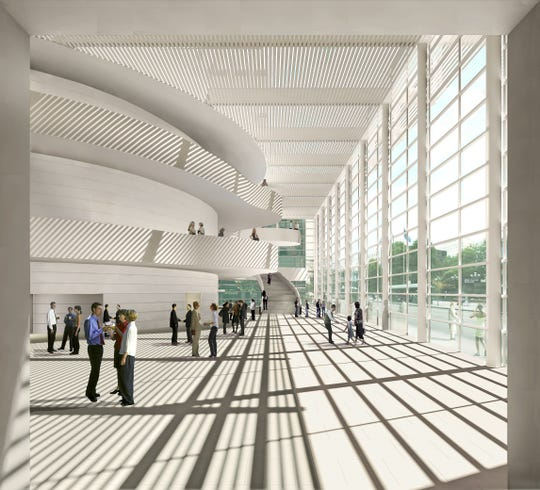 Performing arts center lobby at Renaissance Square. (2006 rendering by architect Moshe Safdie.)