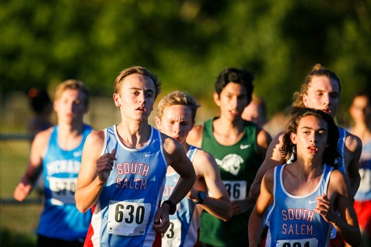 South Salem's Jay Grant (630) in a varsity cross country meet at West Salem High School on Wednesday, Oct. 4, 2017.