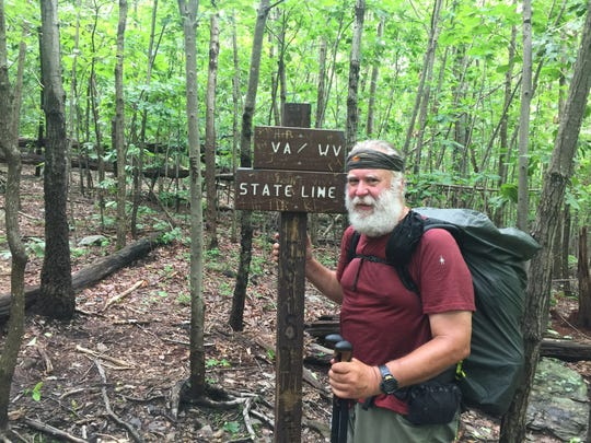 John Hall crosses into Virginia on his quest to hike the entire Appalachian Trail, totaling 2,190.0 miles.