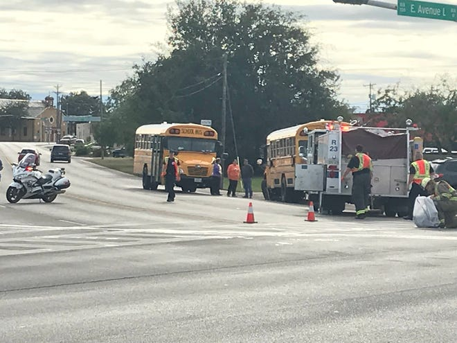 A school bus and another vehicle were involved in a crash at South Oakes Street and East Avenue L on Tuesday, Oct. 23, 2018, in San Angelo.