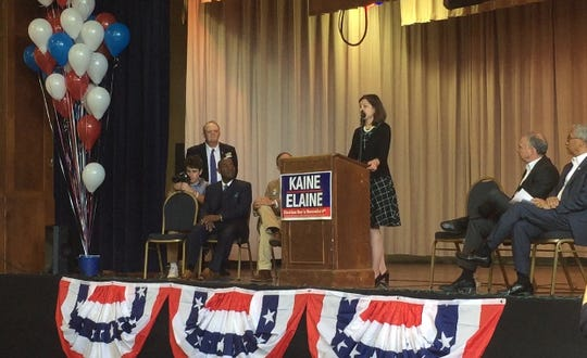Elaine Luria, candidate for Virginia's 2nd  congressional district, speaks at a rally Oct. 21 at Mary N. Smith Cultural Enrichment Center in Accomac.