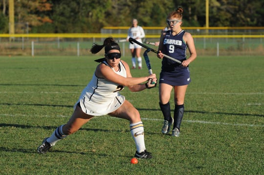 Holly Grove's Jerri Lankford gets set to fire a shot at the goal against Sts. Peter & Paul Oct. 22, 2018. Holly Grove won the game, 7-0.