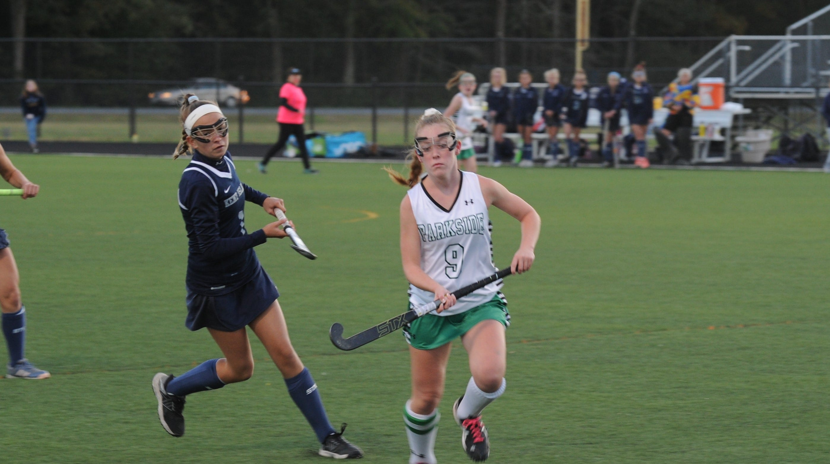 Parkside's Maura Mears sprints towards the ball against Kent Island on Monday, Oct. 22, 2018 during the Bayside Championship for field hockey.