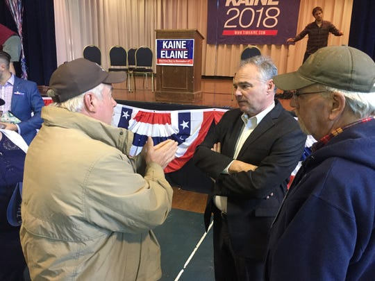 Democratic candidate Sen. Tim Kaine talks to residents at a Get Out the Vote rally he and Congressional candidate Elaine Luria held Oct. 21 at the Mary N. Smith Cultural Enrichment Center in Accomac.