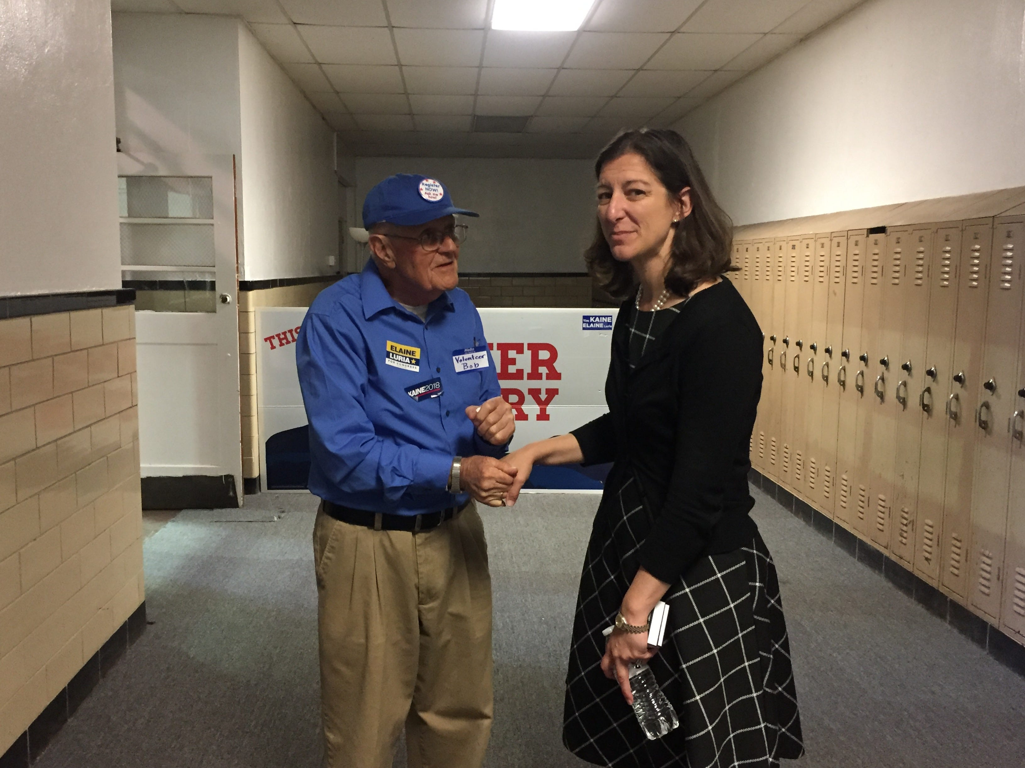 Congressional candidate Elaine Luria talks to a volunteer in Accomac.