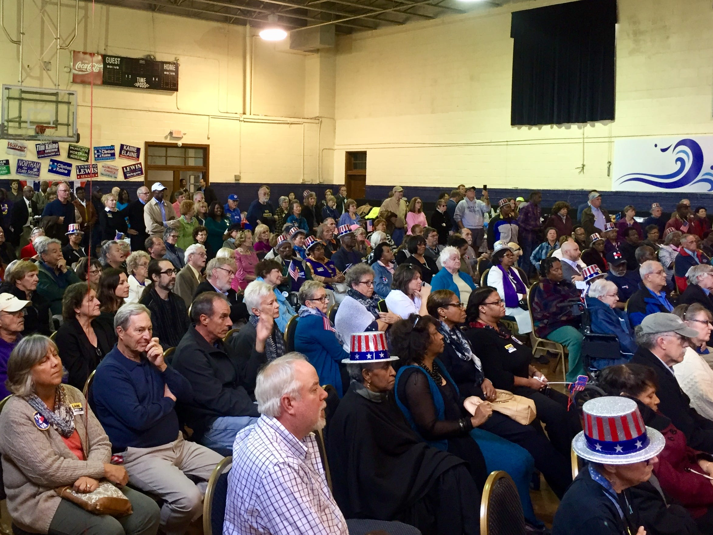 A packed room at the Mary N. Smith Cultural Enrichment Center in Accomac listens to Democratic candidates at a rally on Oct. 21.