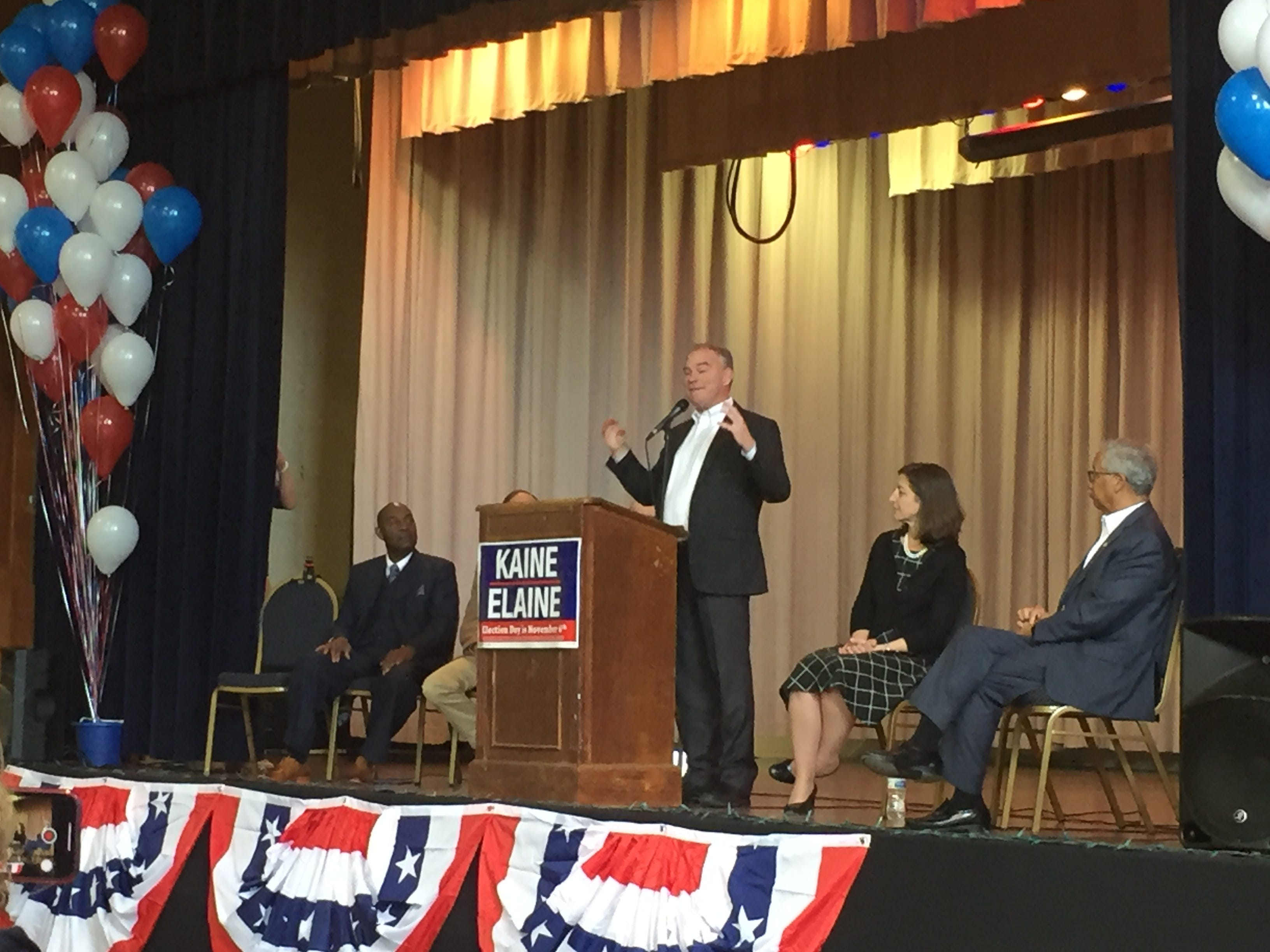 Sen. Tim Kaine speaks to the gathering at the rally Oct. 21 at Mary N. Smith Cultural Enrichment Center in Accomac.