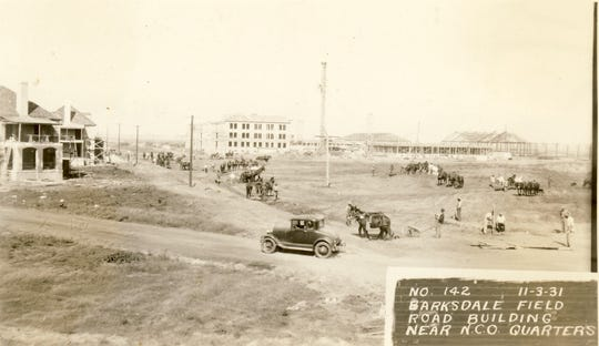The road that would become Davis Avenue at Barksdale Field near the non-commissioned officer quarters and three-stored barracks on Nov. 3, 1931.