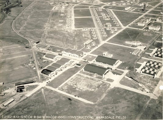 Barksdale Field Quartermaster Warehouses Nco Quarters Checker Board Patterns On Hangars Denote Military Airfleld April 9 1934 Lsus Archives