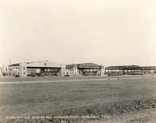 Hangars under construction at Barksdale Field on June 20, 1934.