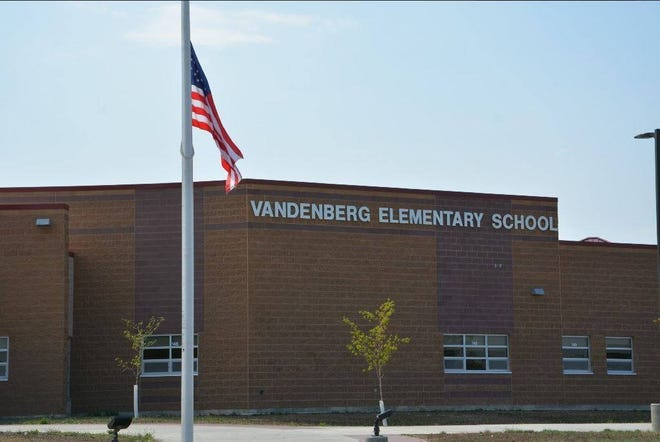 Vandenburg Elementary School in Box Elder. Douglas schools were locked down on Tuesday after the sound of a car backfiring prompted fears of gunfire.