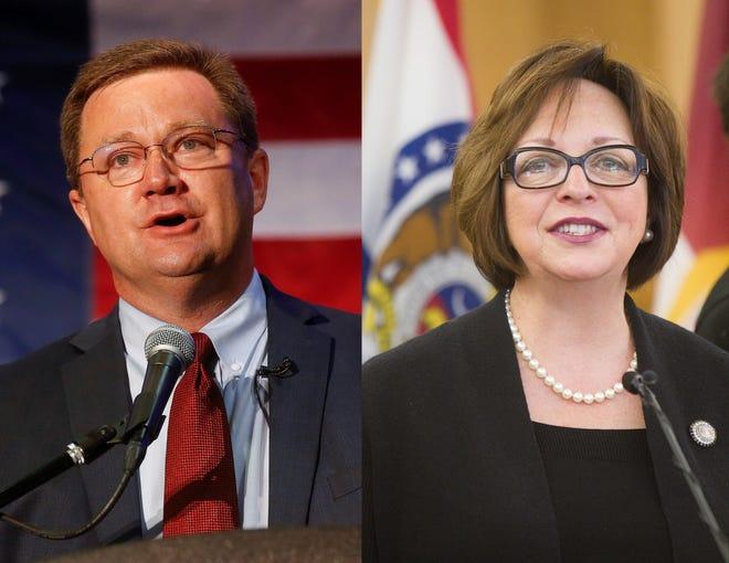 Bob Dixon, left, and Sara Lampe, right, are running for Greene County Presiding Commissioner.