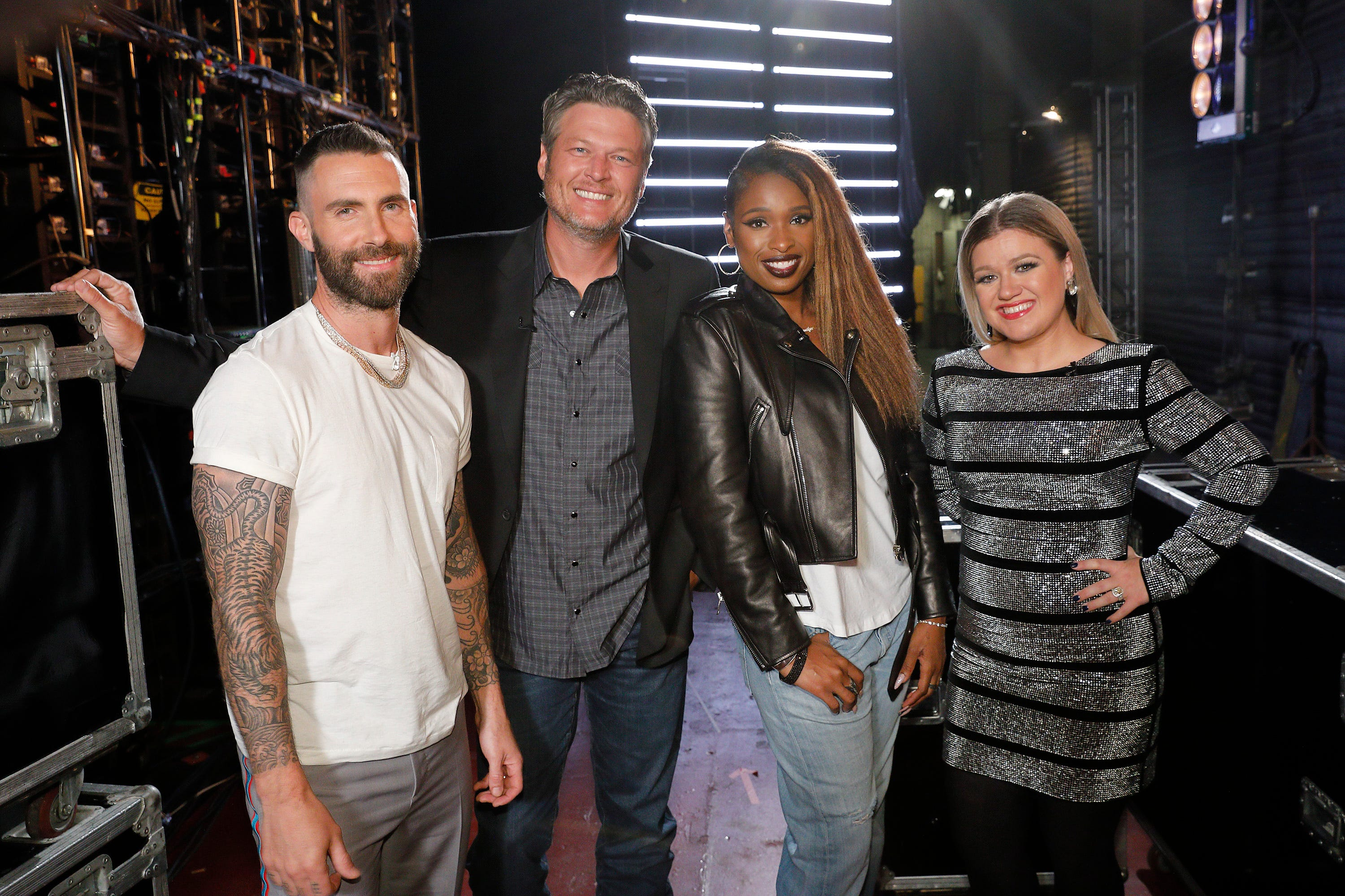 "Adam Levine, Blake Shelton, Jennifer Hudson and Kelly Clarkson of ""The Voice."""