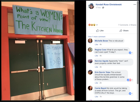 """A Facebook post shows a series of photos depicting posters that were hung at Snow Canyon High School during """"Men's Week."""" Administration says the posters were not approved and subsequently removed."""
