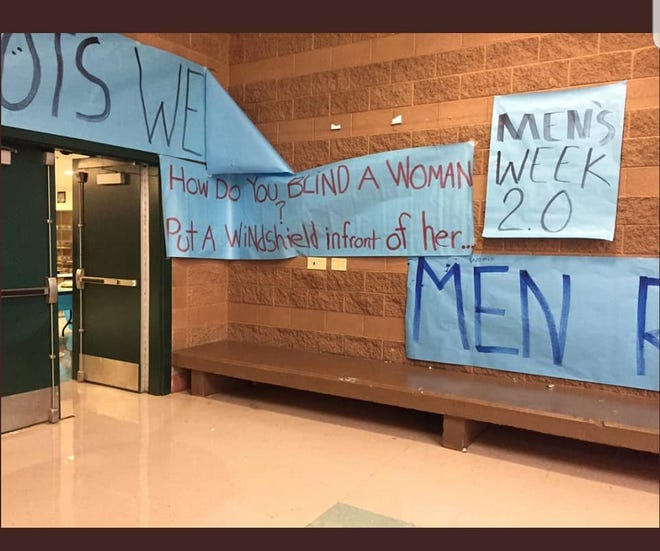 "Posters hung at Snow Canyon High School during a school-sponsored ""Men's Week."" Administrators say the posters were not approved and have been removed."