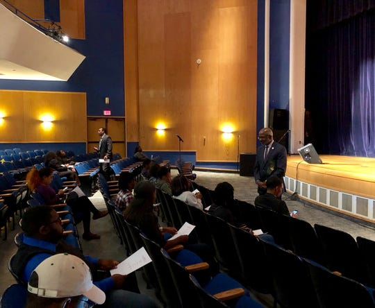 Florida A&M University President Larry Robinson addresses students at town hall on Monday.