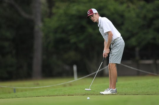 Chiles sophomore Jake Springer attempts a birdie putt during the Region 1-3A tournament at Killearn Country Club on Tuesday, Oct. 23, 2018.