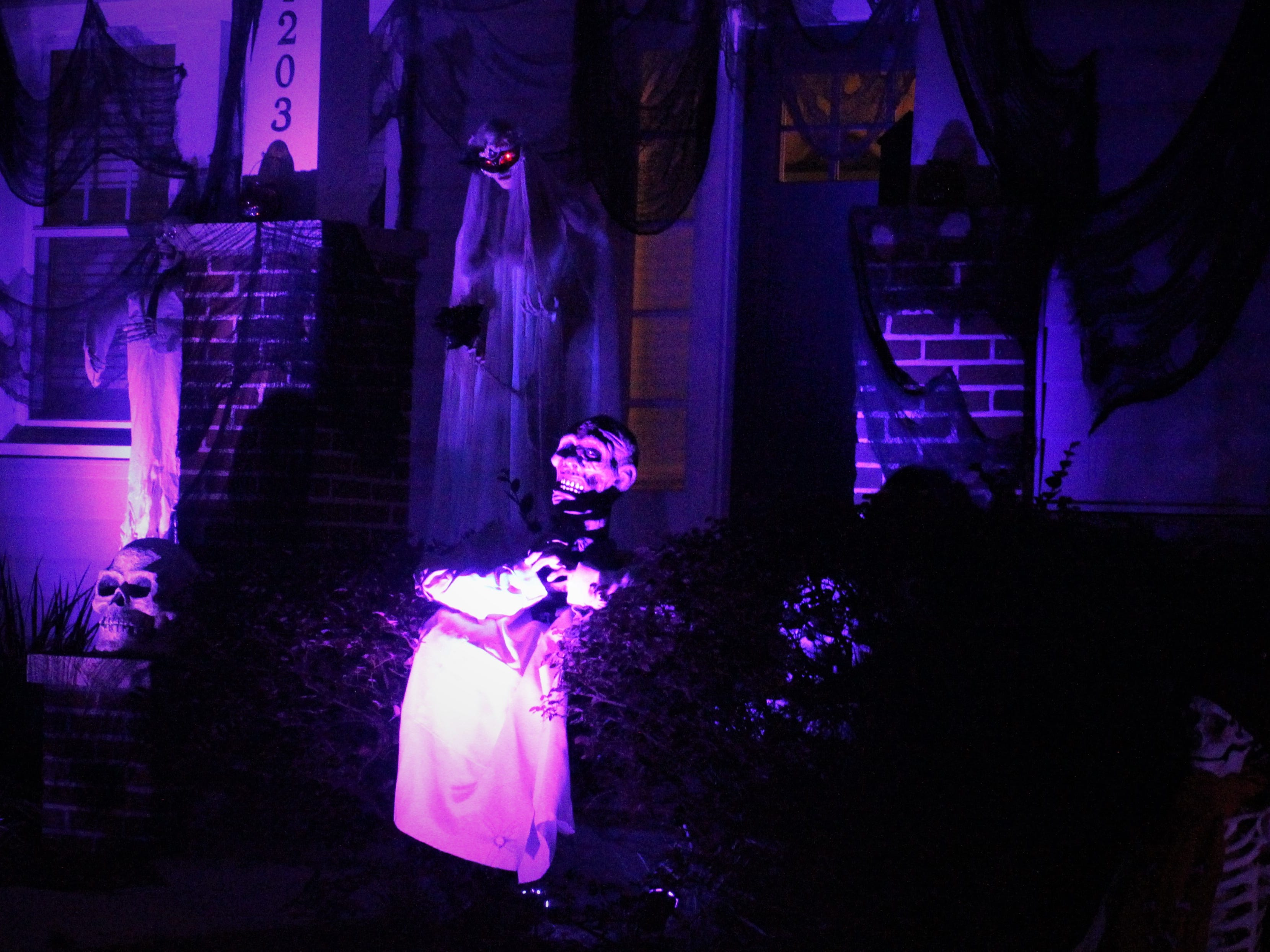 Betty Pearce's house at the corner of Beard Street and Terrace Street is one of many well-decorated Midtown homes for Halloween.