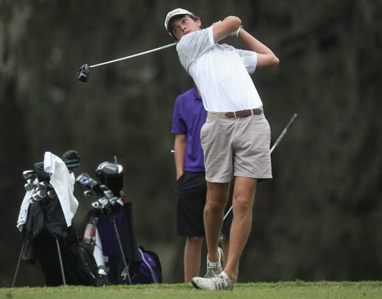 Leon junior Ben Williams watches a tee shot during the Region 1-3A tournament  at Killearn Country Club on Tuesday, Oct. 23, 2018.