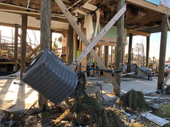 Keith Vargo's home is pictured after Hurricane Michael. This area under the 13-foot pilings was where he stored his boat.