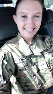 Angel Studer in her basic training uniform