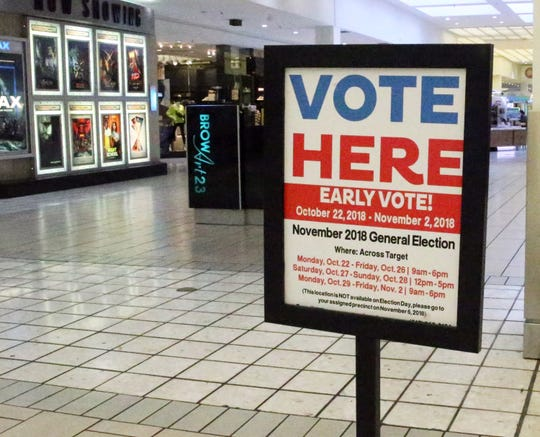 A sign indicates an early polling station for the upcoming midterm elections inside Bassett Place on Tuesday.