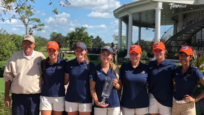 The UTEP women's golf team is, from left, coach Jere Pelletier, Valeria Mendizabal, Shannon O'Dwyer, Lily Downs, Abbie Anghelescu, Audrey Haddad and Crystal Wu.
