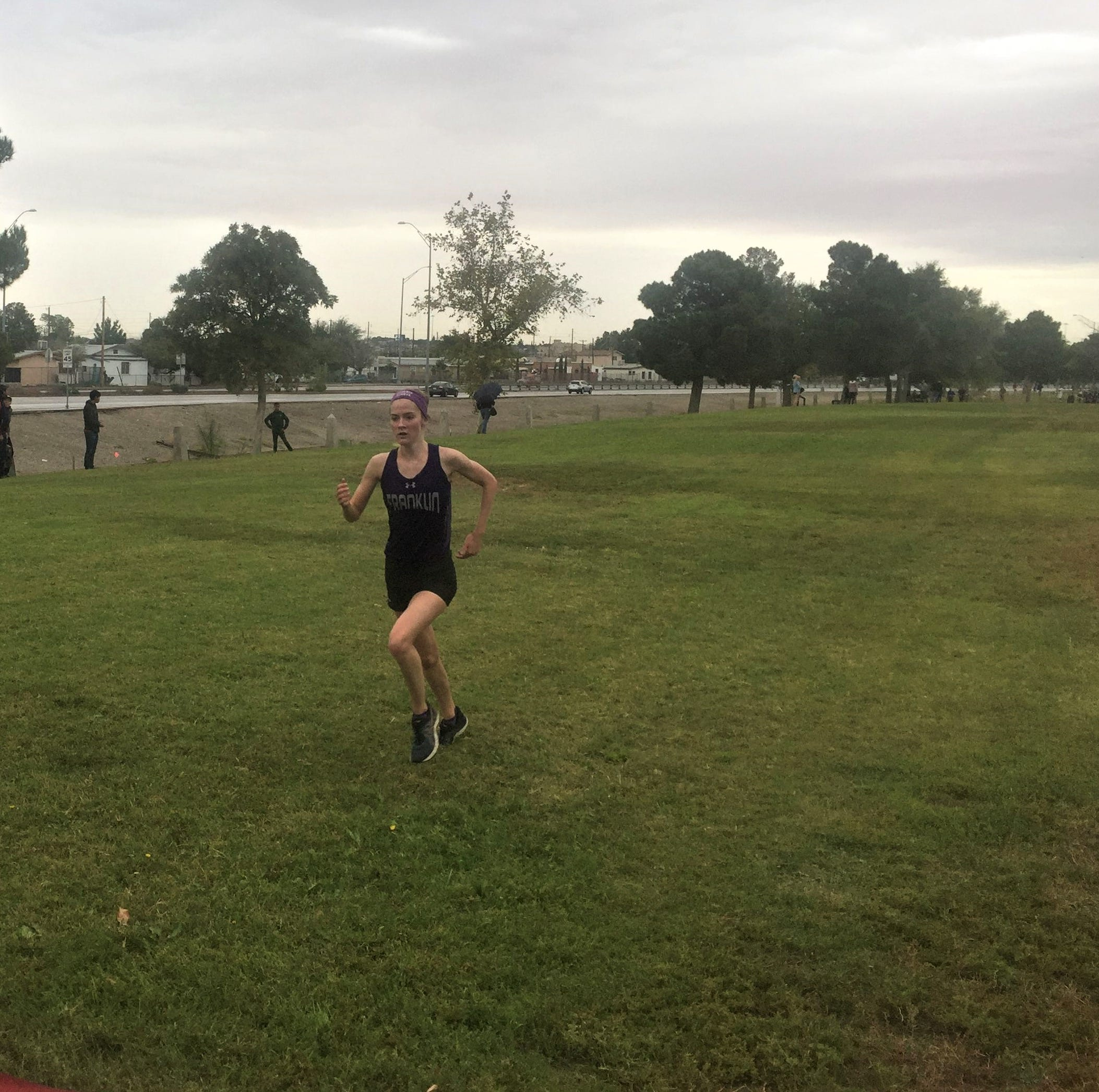 Franklin's Eva Jess wins the District 1-6A girls cross-country title Oct. 12, 2018.
