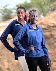 Linda Cheruiyot, left, and Winny Koech are distance runners on the UTEP track team.