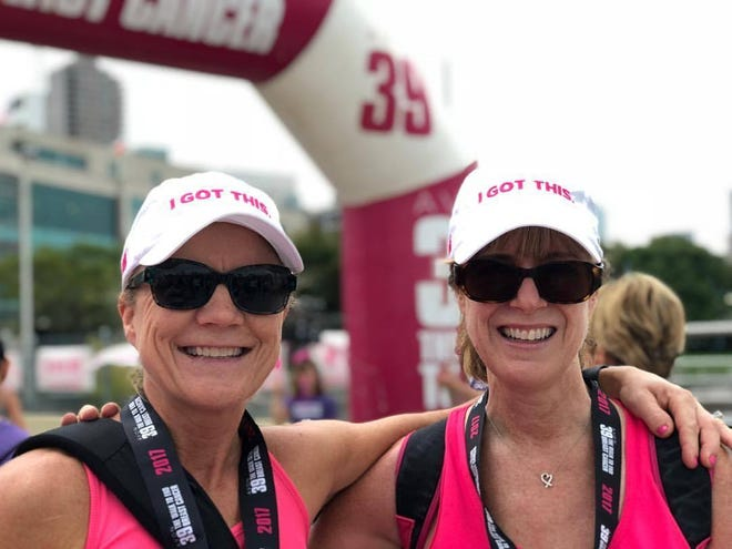 Jaki Kackert, right, poses with her best friend Danelle Peterson during a 2017 breast cancer walk in New York City.