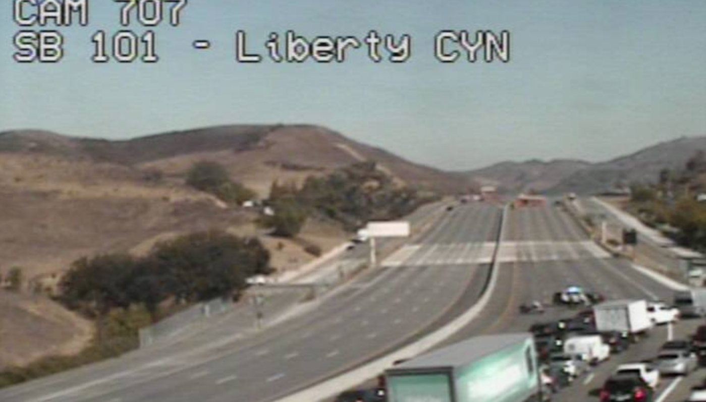 A still from a CalTrans camera near Liberty Canyon Road, where a plane crashed Tuesday afternoon.